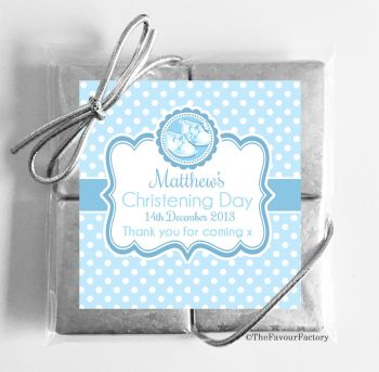 Christening Chocolates Quads Favours Booties Blue x1