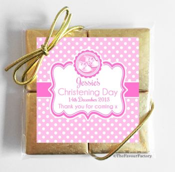 Christening Chocolates Quads Favours Booties Pink x1