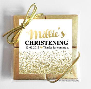 Christening Chocolates Quads Favours Glitter Confetti Gold x1