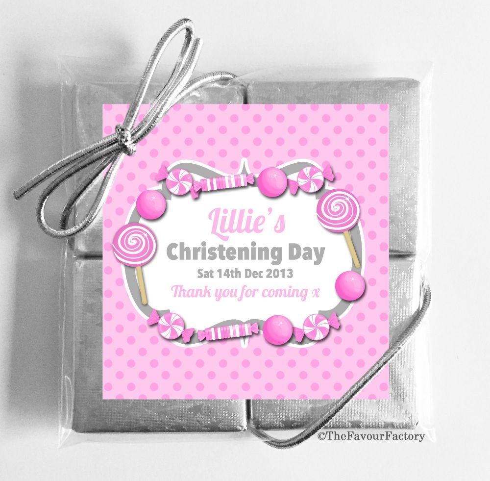 Christening Chocolates Quads Pink Sweets x1