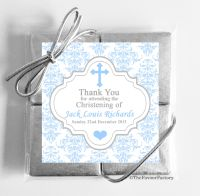 Christening Chocolates Quads Favours Damask Cross Blue x1