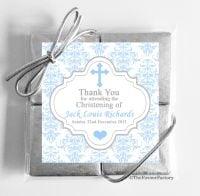 Christening Chocolates Quads Blue Damask Cross x1