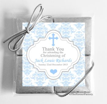 Christening Chocolates Quads Favours Damask Cross Blue x1