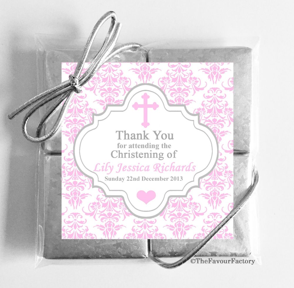 Christening Chocolates Quads Pink Damask Cross x1