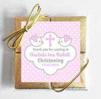Christening Chocolates Quads Favours Doves Pink x5