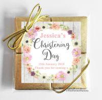 Christening Chocolates Quads Watercolour Floral Wreath x1
