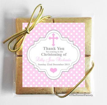 Christening Chocolates Quads Favours Polka Dot Cross Pink x1