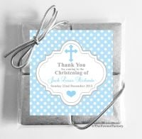 Christening Chocolates Quads Blue Polka Dot Cross x1