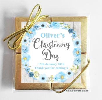 Christening Chocolates Quads Blue Watercolour Flowers x1