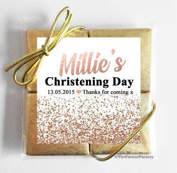 Christening Chocolates Quads Favours Glitter Confetti Rose Gold x1
