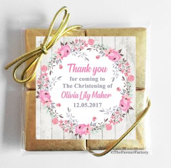 Christening Chocolates Quads Pink Floral Wreath x1
