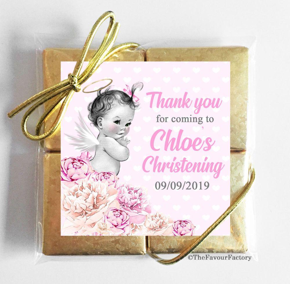 Christening Chocolates Quads Vintage Baby Girl x1