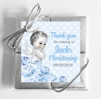 Christening Chocolates Quads Favours Vintage Baby Boy x1