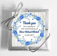 Christening Chocolates Quads Blue Floral Wreath x1