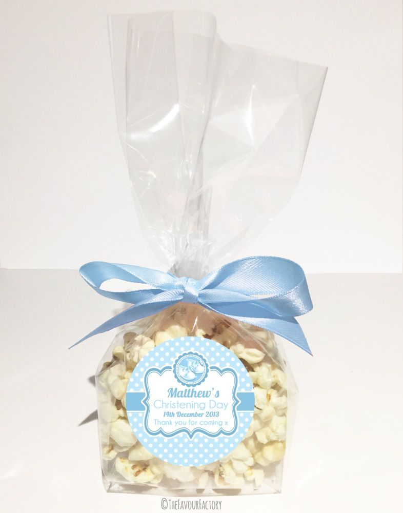 Christening Favour Bags With Ribbon Blue Booties x12