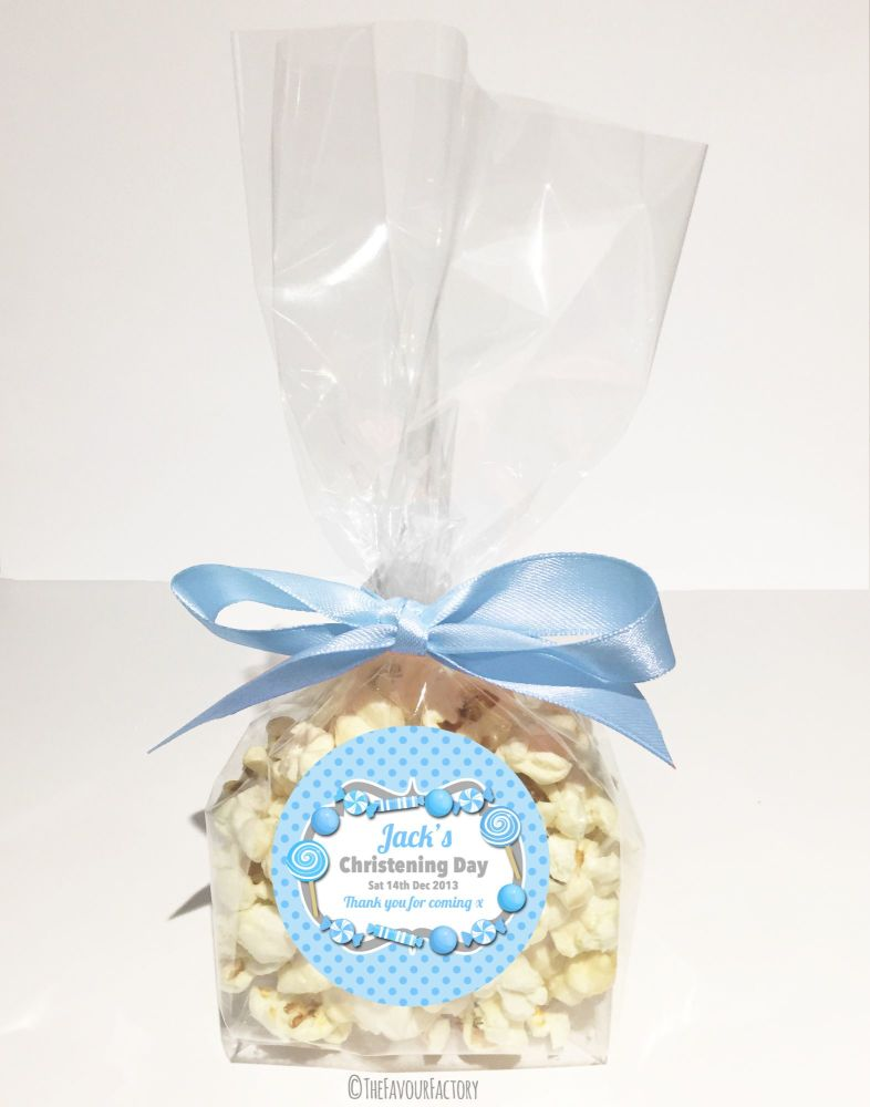 Christening Favour Bags With Ribbon Blue Sweets x12