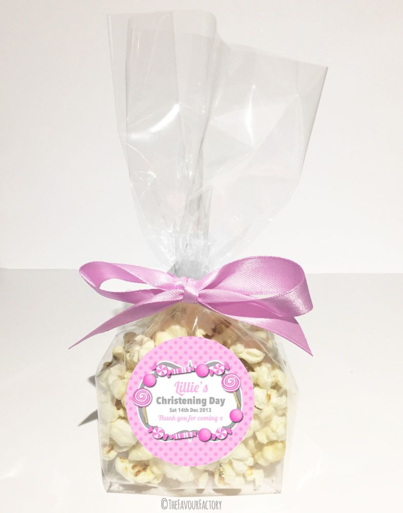 Christening Favour Bags With Ribbon Pink Sweets x12