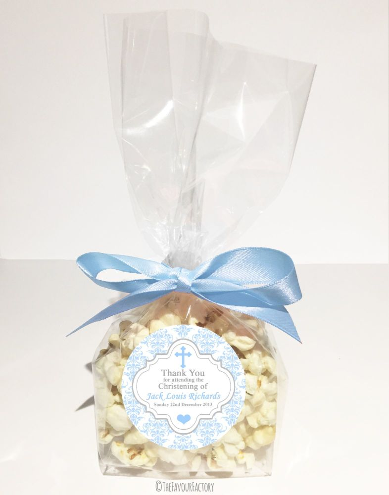 Christening Favour Bags With Ribbon Blue Damask Cross x12