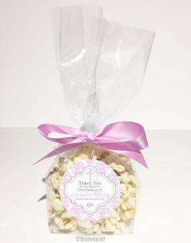 Christening Favour Bags Luxury Kits Damask Cross Pink x12