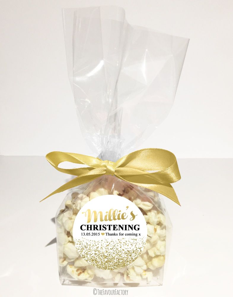 Christening Favour Bags With Ribbon Gold Glitter Confetti x12