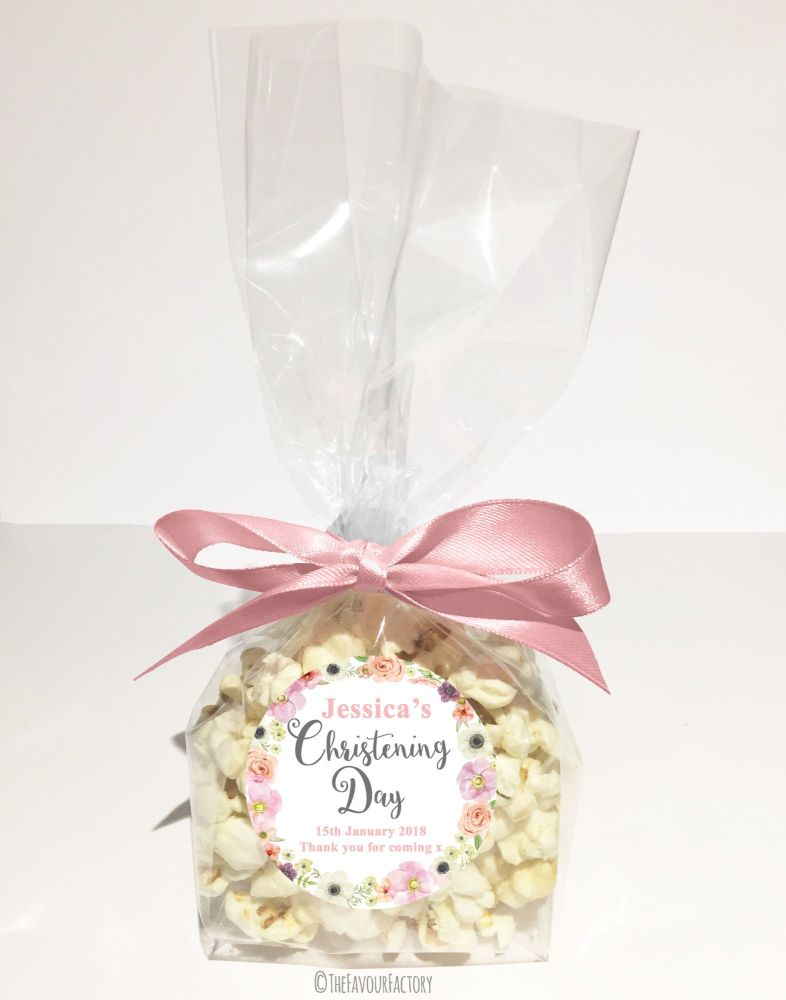 Christening Favour Bags With Ribbon Blush Watercolour Flowers x12