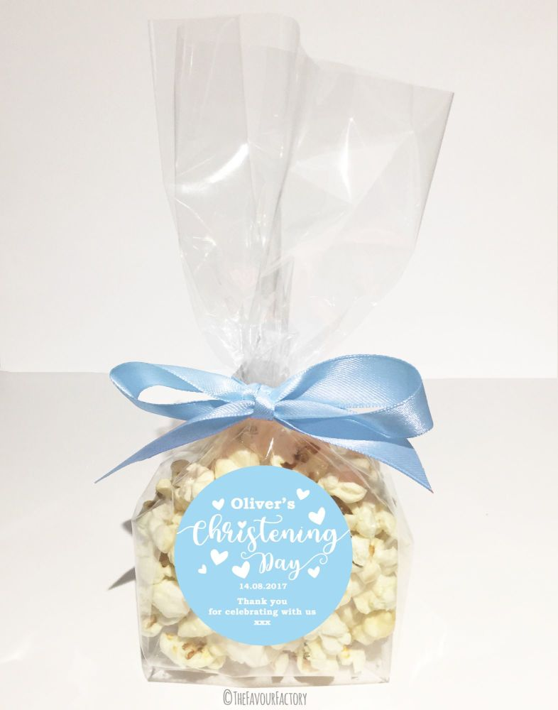 Christening Favour Bags With Ribbon Blue Love Hearts x12