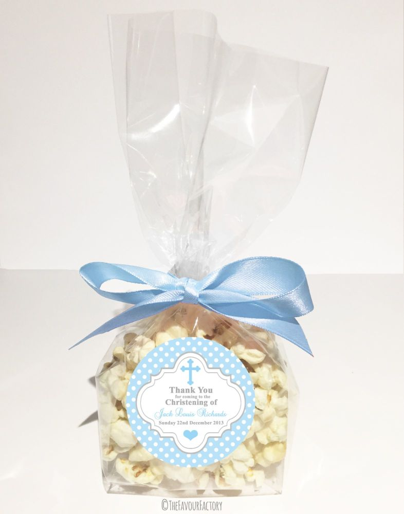 Christening Favour Bags With Ribbon Blue Polka Dots Cross x12