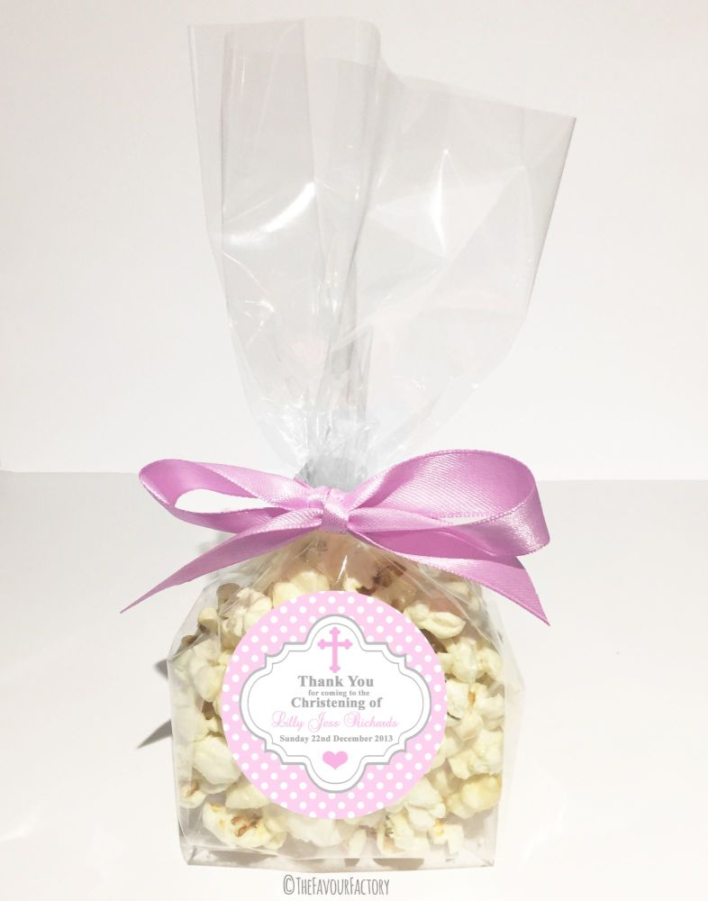 Christening Favour Bags With Ribbon Pink Polka Dots Cross x12