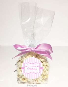 Christening Favour Bags Luxury Kits Stripes Pink x12