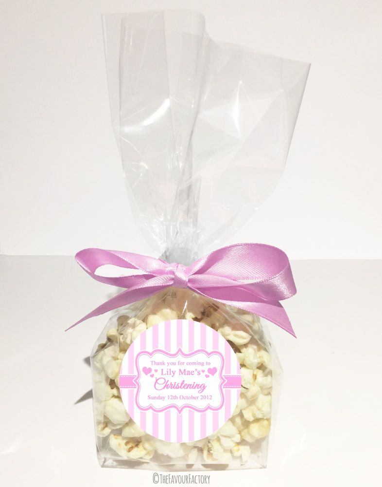 Christening Favour Bags With Ribbon Pink Stripes x12
