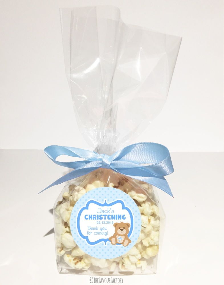 Christening Favour Bags With Ribbon Blue Teddy Bear x12