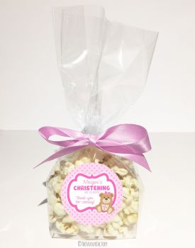 Christening Favour Bags Luxury Kits Teddy Bear Pink x12