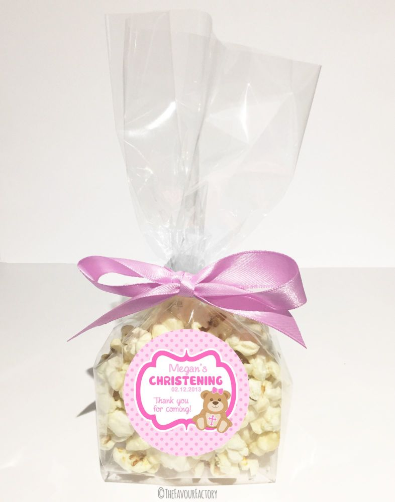 Christening Favour Bags With Ribbon Pink Teddy Bear x12