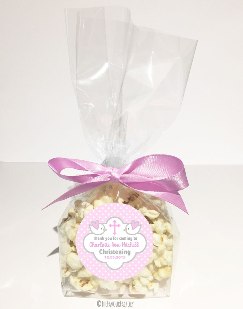 Christening Favour Bags With Ribbon Pink Doves x12