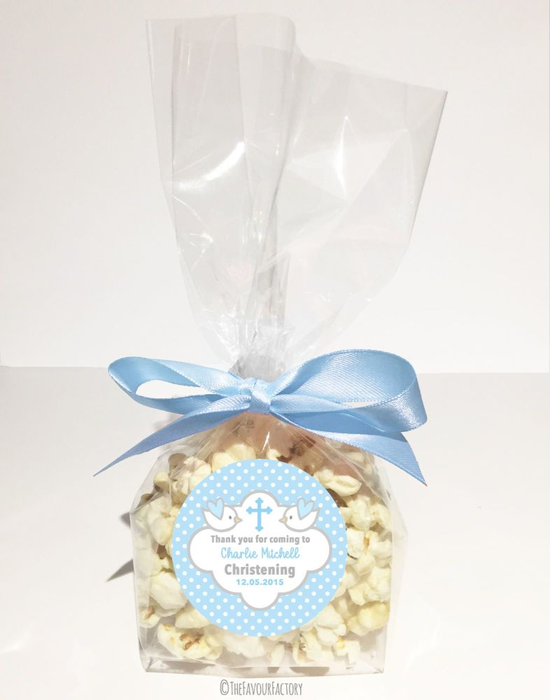 Christening Favour Bags With Ribbon Blue Doves x12