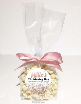 Christening Favour Bags Luxury Kits Glitter Confetti Rose Gold x12