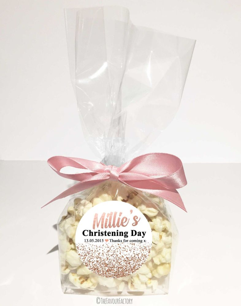 Christening Favour Bags With Ribbon Rose Gold Glitter Confetti x12