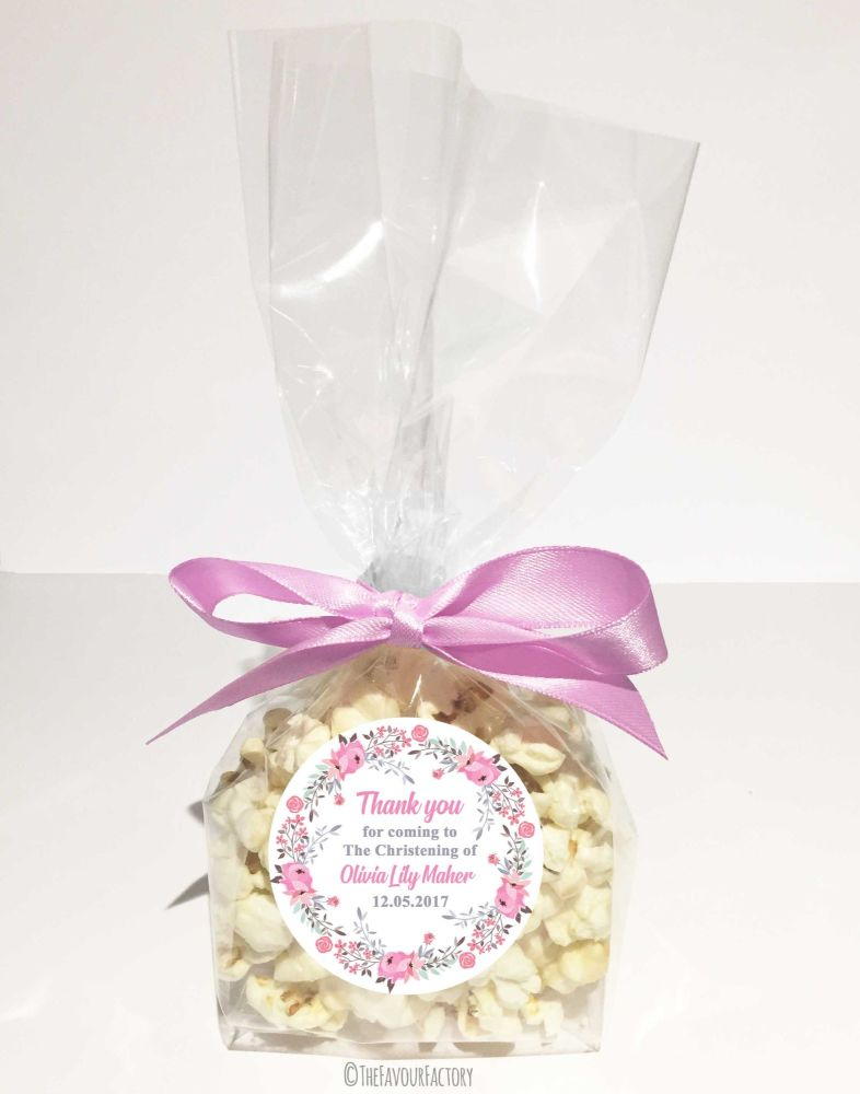 Christening Favour Bags With Ribbon Pink Floral Wreath x12