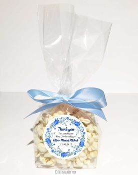 Christening Favour Bags Luxury Kits Floral wreath Blue x12