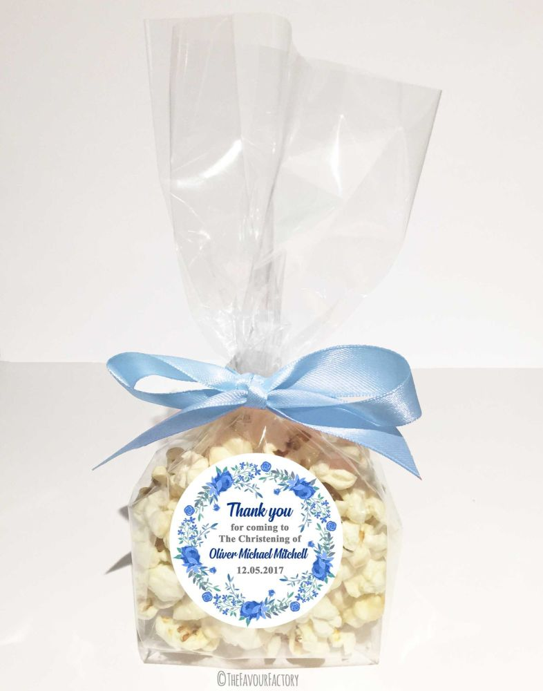 Christening Favour Bags With Ribbon Blue Floral Wreath x12