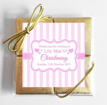 Christening Chocolates Quads Favours Stripes Pink x1