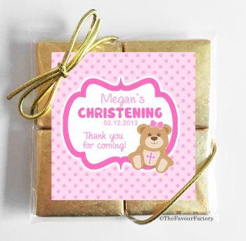 Christening Chocolates Quads Favours Teddy Bear Pink x1