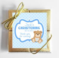Christening Chocolates Quads Favours Teddy Bear Blue x5