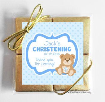 Christening Chocolates Quads Favours Teddy Bear Blue x1
