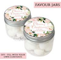 Christening Favour Jars Personalised Floral Blush Hydrangeas