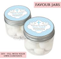 Christening Favour Jars Personalised Doves Blue