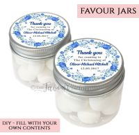 Christening Favour Jars Personalised Floral wreath Blue