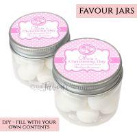 Christening Favour Jars Personalised Booties Pink