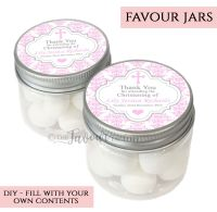 Christening Favour Jars Personalised Damask Cross Pink