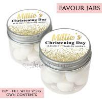 Christening Favour Jars Personalised Glitter Confetti Gold